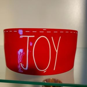 Rae Dunn Red JOY Dog Bowl